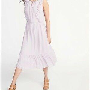 Sleeveless Swiss dot midi dress lilac lavender